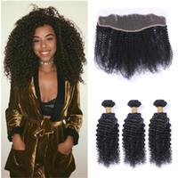 Afro Kinky Lace Frontal Closure With Bundles 8A Grado El cabello humano brasileño teje con encaje frontal Afro Kinky Hair Packs rizados
