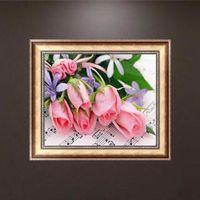 Diy 5d الماس اللوحة الوردي الورود الفسيفساء الإبرة عبر الابره ديكور المنزل فلوريس الحرفية مطرز التطريز 36 * 30 سنتيمتر