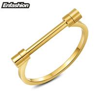 Enfashion Flachhackchen Schraube Armband Gold Farbe Edelstahl Armreifen Armbänder Für Frauen Manschette Armband Schmuck Pulseiras