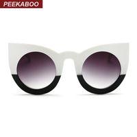 Peekaboo Gros nouvelle mode sexy lunettes de soleil rondes yeux de chat gradient noir grandes dames lunettes de soleil pour les femmes oeil de chat de luxe