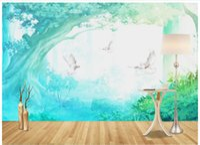 3D Wandbilder Tapete benutzerdefinierte Bild Wandbild Wald Taube Bäume 3D Wohnzimmer Fototapete 3D Wandbild Tapete Kostenloser Versand