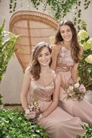 Vestidos de dama de honor con lentejuelas de oro de rosa Vestidos de fiesta de boda de noche Vestidos de fiesta de la noche de gasa simple Halter Spaghetti Style Hecho a medida