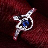 Подарный ручной формы стерлинговые крепости покрыты кольцом GR534, женский синий драгоценный камень 925 серебряное обручальное кольцо