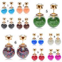 Heißer Verkauf doppelseitige Perle Frauen Ohrringe transparent Glas Zirkonia CZ Stud Ohrringe für Candy Farbe Quicksand Modeschmuck