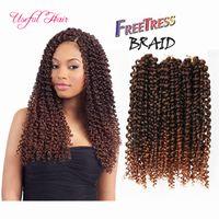 3 pçs / pack sintético crochet tranças cabelo 10 polegada jerry curly torção trança sintética extensões de cabelo ombre cor pré-loop wave profundo