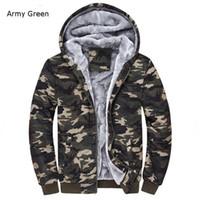 Toptan-Kış Sıcak Erkek Kamuflaj Ceket Rahat Hoodies Kalınlaşmış Polar Fermuar Taktik Camo Ceket Ordu Yeşil; Chaqueta Militar Hombre