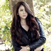 Kadın Kızlar Moda Natrual Uzun Dalgalı Tam Başkanı Peruk Cosplay Peruk Siyah Açık Kahverengi Koyu Kahverengi 68 Cm Sentetik Saç Peruk