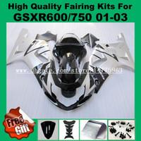 k1 k2 k3 kit de carenagem para SUZUKI GSXR 600 750 2001 2002 2003 GSXR600 GSXR750 01 02 03 K1 GSX-R600 GSX-R750 Kits de carenagem ABS PRATEADO PRETO