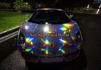 Yanardöner Lazer Krom Gümüş Vinil Wrap Folyo Holografik Kaleidoscope Araba Vücut Film Kabarcık Ücretsiz Araba Sticker