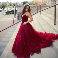 Sweetheart Velvet and Tulle Ball Gown Prom Dress Burgundy Sw...