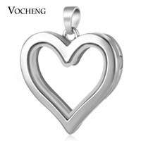 VOCHENG 30MM الحب القلب زجاج المناجد الذاكرة قلادة ل سحر العائمة منفتح تقليد الروديوم مطلي VA-244