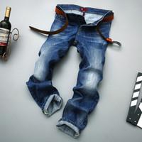 Wholesale- Odinokov Brand 2017 Mens Jeans Nuovi uomini di modo Jeans casuali Slim diritti alti piedi Elasticità Jeans pantaloni larghi vita lunga