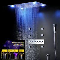 샤워 수도꼭지 LED가 비 폭포 샤워 헤드 2 인치 몸 제트기 높은 흐름 목욕 스프레이 세트 (5 개) 기능 온도 조절 샤워