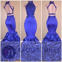 Hot Sale 2017 Sexy Backless Royal Blue Mermaid Prom Dresses ...
