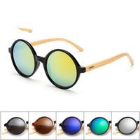 나무 선글라스 새로운 수제 대나무 다리 선글라스 천연 대나무 다리 남자 안경 여성 라운드 원형 안경 6 색상 선택
