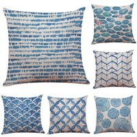 Chinese Ink Blue Linen Linen Cushion Cover Home Office Sofa ...