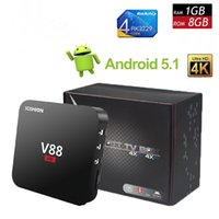 V88 4K Android 5.1 TV Box Rockchip RK3229 1G / 8G 4 USB 4K x 2K H.265 10-bit 60fps WiFi Full Loaded Quad Core 1.5GHZ Media Player