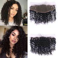 Afro Curly Hair Frontal Closure 13x4 Ohr an Ohr Lace Frontal Closure mit gebleichten Knoten natürliche Farbe 1B Remy Haarverlängerungen