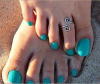 Womens Open Totem Toe Anelli Boho Gioielli Antico Argento Anelli Regolabili Regolabili Anelli di gioielli di moda Accessori per la punta delle donne