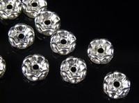 100 Pcs Perles Rondelles Rondelles Ondulées Strass 6mm - Argent Cristal Clair Perles SPARKLING