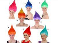 유니버설 여성 무성한 색상의 머리카락 유럽의 미국의 가발 개성 축제 화염의 가발 할로윈 트롤 35CM 엘프 역할을하는 마녀