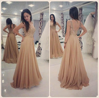 Champagne Chiffon A- line Prom Dresses Lace Top Jewel Backles...