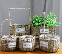 6PCS- PACK Multi Shape Willow Handwoven Easter Basket Straw h...