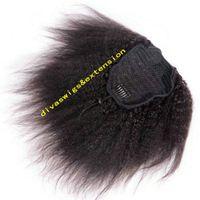 Venta caliente pelo humano Ponytail Natrual pelo para mujeres negras, rizado recto Yaki italiano con cordón recto extensiones de cola de caballo negro natural