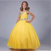 Balo Kız Elbise Küçük Kraliçe Boncuklu Elbise Parti çocuk Pageant Elbise Kat Uzunluk Doğum Günü Çocuklar Elbisesi