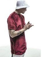 New Mens Hip Hop Espinhel camisetas Moda Hi-Street Homens Extensão shirt Velour Ouro Side Zipper veludo Curvo Hem Tee