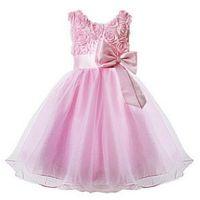 New Real Crepe vestidos de niña de las flores con partido del arco del desfile de vestido de comunión para las niñas de los niños / vestido de los niños para la boda