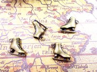 24pcs-Buz Paten Charms Antik Tibet bronz 3 D paten çekicilik kolye 20x17X6mm