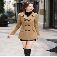 2017 Otoño Invierno nueva moda mujer abrigo de lana doble botonadura elegante bodycon capullo de lana abrigo largo color sólido tops LU304
