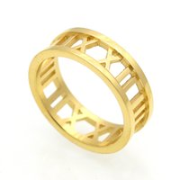 2017 romersk guld kärlek märke 316l Titanium stål smycken grossist hjärta kärlek ringar för kvinna bröllop ring smycken guld / silver / rosa färg 7mm