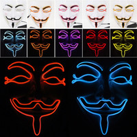 LED Cadılar Bayramı Maskeleri V Kelime Nefret Maskesi EL Tel Parlayan Maske Masquerade Tam Yüz Maskeleri Cadılar Bayramı Kostümleri Parti Hediye WX9-58
