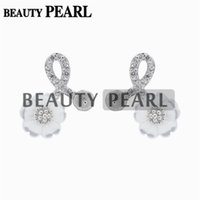 5 Pairs Pearl Earring Mountings Zircon White Shell Flower 92...