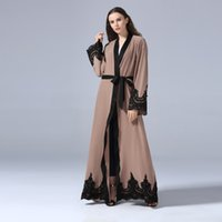 Maxi cardigan ricamo islamico all'ingrosso donne musulmane patchwork abaya dress s-5xl plus vendita