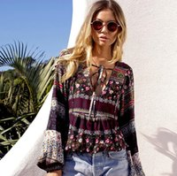 New Bohemian Fashion Women' s Vintage Floral Tops Blouse...