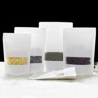 Tam set örnek buzlu şeffaf plastik pencere açılıp kapanabilir standup beyaz kraft kağıt zip kilit kahve gıda ambalaj kılıfı çanta