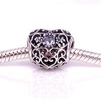 Venta al por mayorS925 Encanto de corazón de plata esterlina de abril con cuentas de cristal de roca adapta a joyas de pandora europeas collares 791784RC