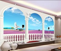 fashion decor decorazione domestica per camera da letto Dream 3d Lavender Blue Sky White Cloud TV sfondo muro