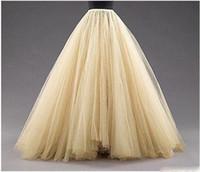 Tulle långa kvinnor mode kjolar aline skiktad tutu golv längd skräddarsydd storlek plus storlek fest prom vuxen slitage vår höst billig klänning
