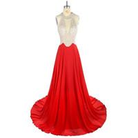 أحدث مصمم مساء اللباس الأحمر الشيفون مع مطرز صد الرسن السجاد اللباس 100 ٪ جودة عالية السيدات Attactive