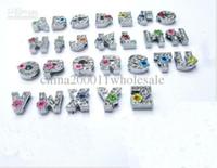 130pcs 8mm A-Z Fiore strass lettere lettere collare per animali 0045