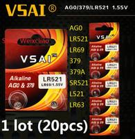 20 قطع 1 وحدة AG0 LR521 LR69 379 379A SR521 L521 LR63 1.55 فولت بطاريات زر خلية البطارية القلوية عملة vsai مجانية