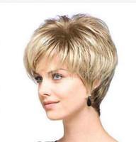Parrucche diritte bionde naturali dei capelli corti Parrucche afro americane afroamericane dei capelli corti nessuna parrucca anteriore del merletto Parrucche di Perruque per le donne