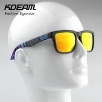 pacote Atacado-Kdeam Eyewear Reflective Coating Fashion Square Men óculos polarizados Marca Esporte óculos de sol Polaroid completa