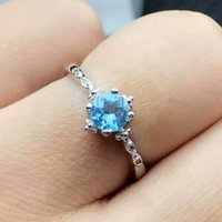 Fashion princess ring 5mm natural topaz gemstone engagement ...