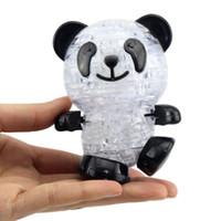 퍼즐 완구 어린이를위한 귀여운 팬더 3D 크리스탈 퍼즐 직소 팬더 모델 몬테소리 교육 완구 소매 포장 SL