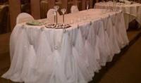 10ft l * 30 بوصة h تصميم جديد فاخر الماس اللؤلؤ بروش الجليد الحرير الجدول التفاف الجدول تنورة ل ديكور الزفاف